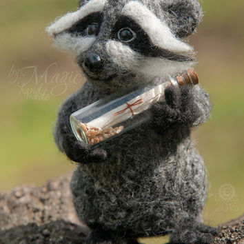 Felted raccoon, felt animal, wool toy, felting, glass bottle, letter, gift for her, for him