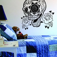 Sugar Skull and Roses Decal Sticker Wall Vinyl Day of the Dead