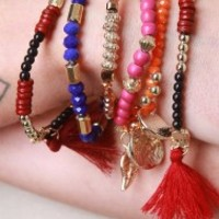Boho Charm and Bead Bracelet Set