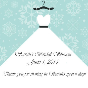 Snowflake Bridal Shower Favor Tags