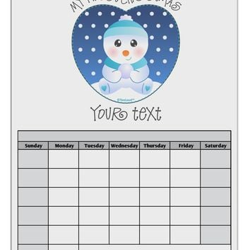 Personalized My First Christmas Snowbaby Blue Blank Calendar Dry Erase Board