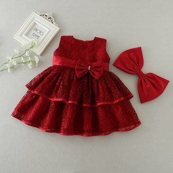 Retail Baby Girls Dresses Summer Bow Tiered Lace Bow Party Princess Dresses Wedding Dress Birthday Dress Kids Clothes 9161