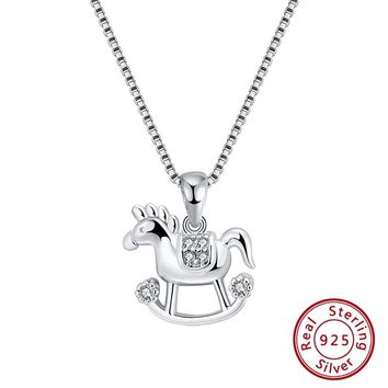 S925 Sterling Silver Horse Shape Pendant Necklace Jewelry