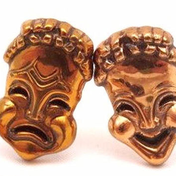 """Renoir Copper Cuff Links """"Curtain Call' Theater Masks Comedy & Tragedy 1 1/8"""" Unisex Vintage"""