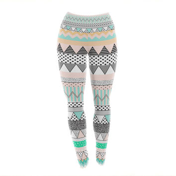 "Vasare Nar ""Chevron Motif"" Pink Teal Yoga Leggings"