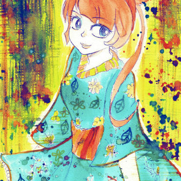 Cute Kimono Girl 9x12 Original Watercolor Painting