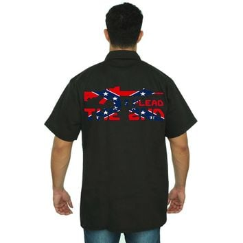 Men's Confederate Rebel Flag Mechanic Work Shirt I Plead The 2nd