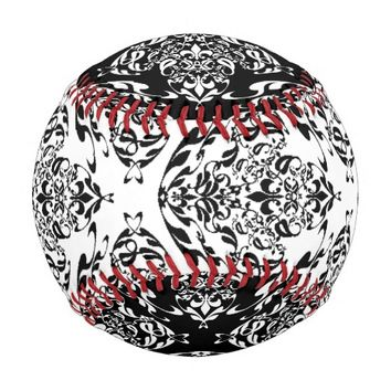 Stylish Black And White Floral Boho Damask Pattern Baseball