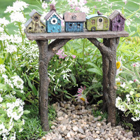 Miniature Fairy Garden Birdhouse Arbor Limited Edition Log Style