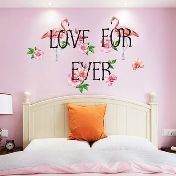 "Pink Flamingo ""Love Forever"" Wall Decals for Home Decor"