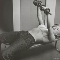 Marilyn Monroe Weight Bench Workout Poster 24x36