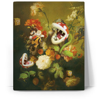 Still Life with Flowers and Piranha Plants Canvas