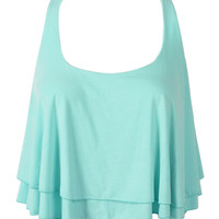 Green Layered Twisted Back Crop Top