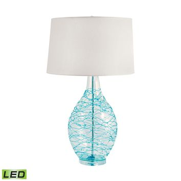 300B-LED Clear Glass Urn LED Table Lamp With Hand Applied Blue Coils