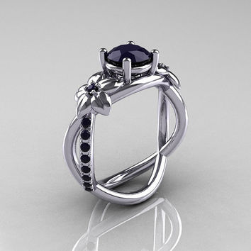 Nature Classic 10K White Gold 1.0 CT Dark Blue Sapphire Leaf and Vine Engagement Ring R180-10WGDBSS