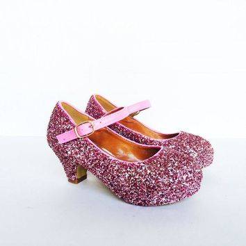 DCK7YE Pink Glitter Girls Heels, Flower Girl Shoes