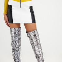 Petite Yellow Contrast Vinyl Mini Skirt