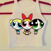 F1729 The Powerpuff Girls Print Women Crop Top Summer Tanks Harajuku Sexy Camis Fashion Tops Casual