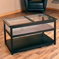 Glass Top Display Black Coffee Table Living Room Office Furniture Home