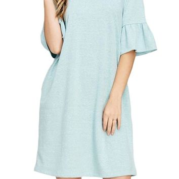 Ruffle Sleeve French Terry Dress