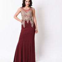 1930s Style Burgundy Red Sheer Embellished Sexy Fitted Long Dress 2016 Prom Dresses