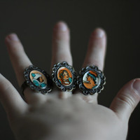 Vintage Adjustable Portrait Rings, handmade rings, one of a kind