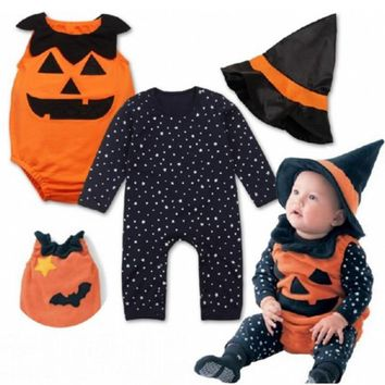 Pumpkin Adorable Child Little Baby for Kids Girls Boys Halloween Cosplay Costumer Rompers+Hats 3pcs BBR197