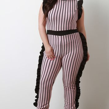 Ribbed Knit Striped Sleeveless Ruffles Jumpsuit