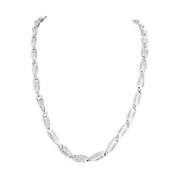White Gold Finish Bullet Link Simulated Diamond Mens Necklace