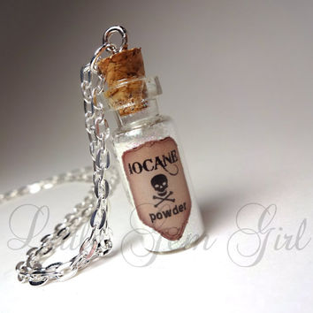 Iocane Powder Glass Bottle Necklace - Poison Potion Vial Charm - 2 Choices of Color - You Pick