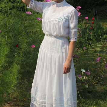 Ladies' Edwardian early 1900's Heirloom pintucked lace detailed all white 2 piece dress/slip set w/ 2 sleeve length options-MADE-TO-ORDER