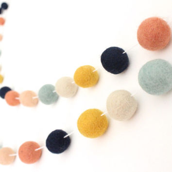 Arizona Garland- Felt Ball Garland- Girl Nursery Decor- Pom Pom Garland- Felt Garland- Tribal nursery Decor- Peach Navy Coral Mint- Baby