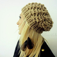 Neutral Lacey Slouchy Hat by LoveandKnit on Etsy