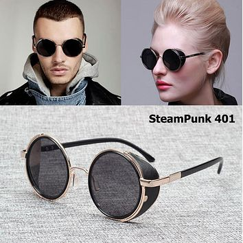 JackJad 2017 Fashion VINTAGE Retro Round STEAMPUNK Rock Sunglasses Side Cover Men Women Brand Design Sun Glasses Oculos De Sol