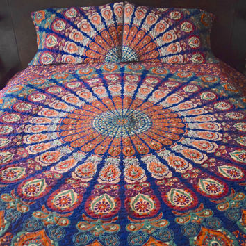 Mandala tapestry quilt, boho quilt, hippie quilt, indian style tapestry quilt