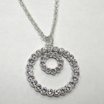 Swarovski Crystal Double Circle Pendant Necklace by Lucky7Jewelry