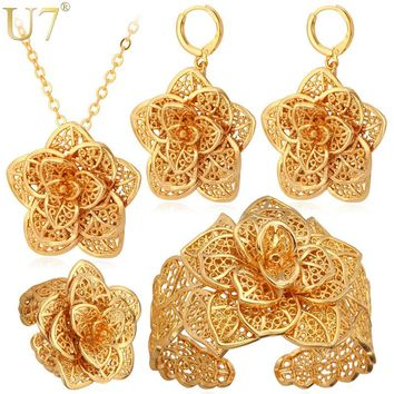 Vintage Big Flower Jewelry Sets Gold Color Necklace Cuff Bracelet Earrings And Ring