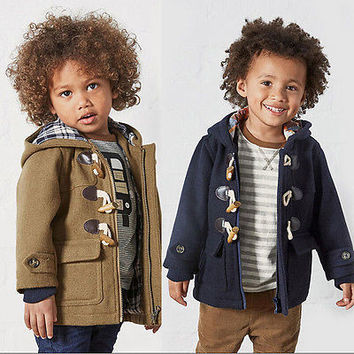 Fashion Kids Boys  Long Trench Coat Kids Winter Warm Jacket Windbreaker Outerwear Baby Clothes