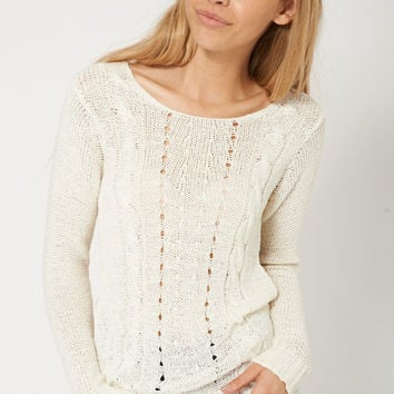 Lovely Crochet Cable Knit Cream Jumper Sweater
