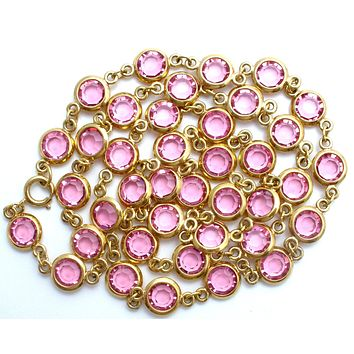 Pink Crystal Channel Set Necklace 30""