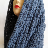 Chunky Grey Cable Knit Cowl, Wool Scarf, Women's Fashion Scarf, Neck Warmer, Hand Knitted, Warm Infinity Scarf, Trendy scarf crochet