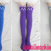 Kawaii Fairy Kei Pastel Goth Kitty Cat Thigh High Tights Bright Colors from Kawaii Machine