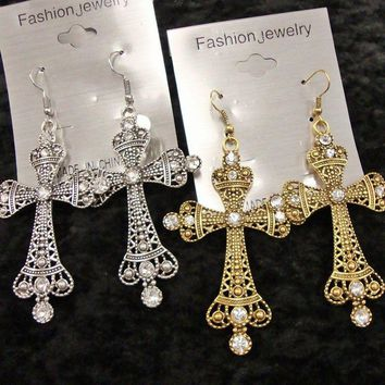 "2.75"" Antique Gold or Silver Faith Cross Christian Religous Dangle Earrings"