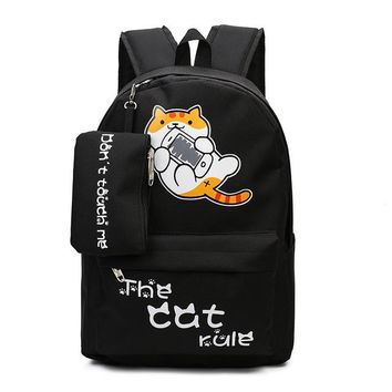 Student Backpack Children Canvas Female School Bags Cartoon Cat Backpack for Teenager Girls Casual Students Backpack with Pencil Bag 5 Colors SC281 AT_49_3