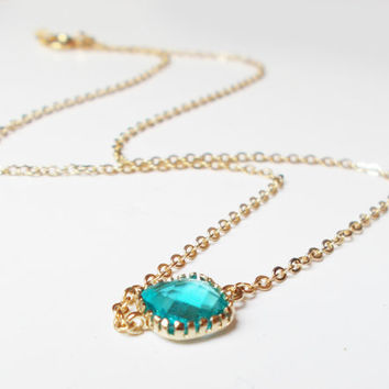 Sea Green Pop of Color 16K Gold Plated Stacking Necklace - BridesMaid Gift - Gemstone Necklace