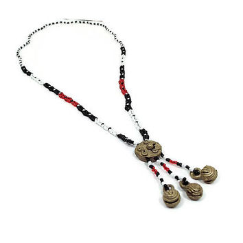 Vintage Seed Bead Necklace with Bells Black White Red Brass Ethnic Tribal