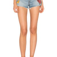 GRLFRND Cindy High-Rise Embroidered Short in Rising Sun