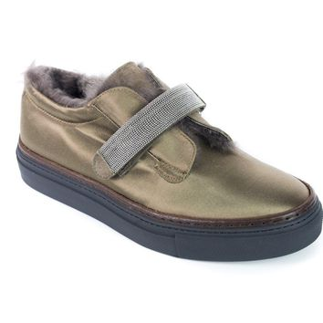 Brunello Cucinelli Women's Olive Green Monili Strap Fur Trim Sneakers