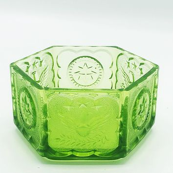 Vintage Green Hexagon Glass Bowl with Eagle and Stars