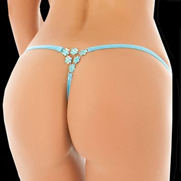 Aqua Dancers Thong With Flower Detail Sexy Stripper Bottoms